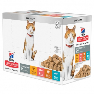Hill's Feline Sterilised Young Cat Multipack vištiena/kalakutiena/lašiša/upėtakis 12x85g