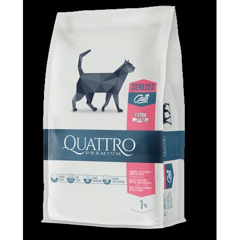 QUATTRO Premium klasės visavertis suaugusių sterilizuotų kačių ėdalas su DAUG paukštienos 1.5kg