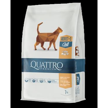 QUATTRO Premium klasės visavertis suaugusių kačių pašaras su DAUG paukštienos. 1.5kg