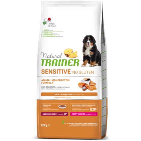 Natural Trainer DOG SENSITIVE NO GLUTEN PUPPY&JUNIOR M/M su Lašiša