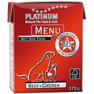 Platinum Menu konservai šunims su jautiena ir vištiena, 375 g