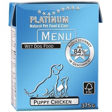 Platinum Menu konservai šuniukams su vištiena, 375 g