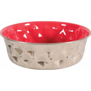 ZOLUX Dubenėlis šuniui Diamonds, metalinis, 2.6l, raudonas