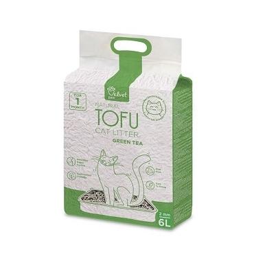 Velvet Paw Tofu kačių kraikas su žaliosios arbatos ekstraktu, 2 mm granulės, 6l x 6vnt