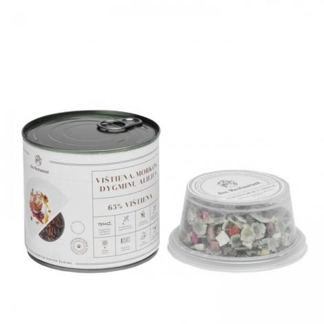 Konservai su vištiena, morkomis ir dygminų aliejumi 0,64 kg