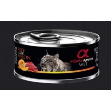 ALPHA SPIRIT konservai katėms su jautiena ir melionais 85g