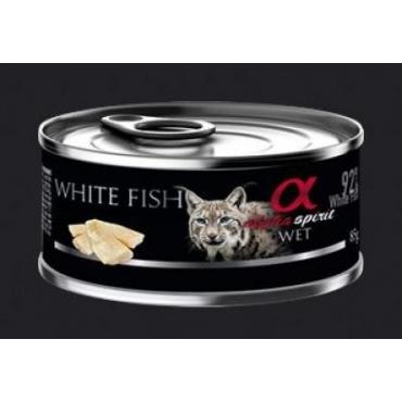 ALPHA SPIRIT konservai sterilizuotoms katėms su balta žuvimi 85g