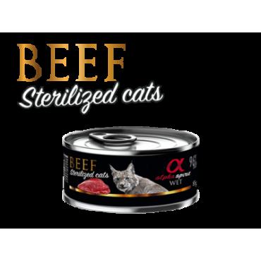 ALPHA SPIRIT CAT kons. sterilizuotoms katėms su jautiena 85