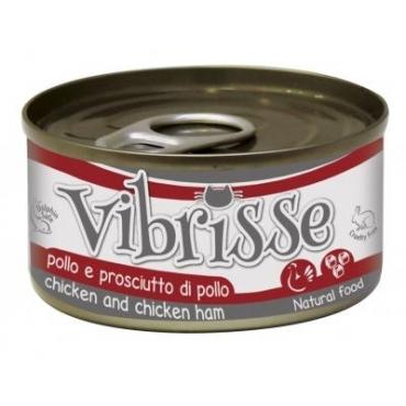 VIBRISSE konservai katėms vištiena/vištienos kumpis padaže 70g