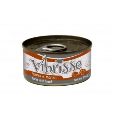 VIBRISSE konservai katėms su tunu ir jautiena padaže, 70g