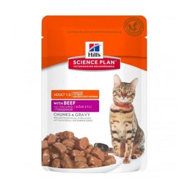 Hill's SP Adult Beef Pouch guliašas su jautiena katėms 12 x 85g